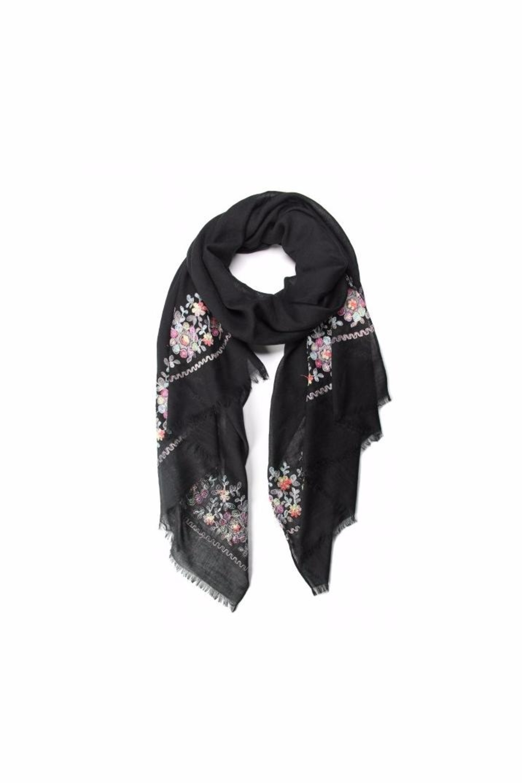 Love of Fashion Embroidered Flower Scarf - Main Image