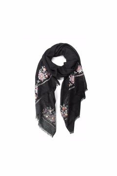 Love of Fashion Embroidered Flower Scarf - Alternate List Image