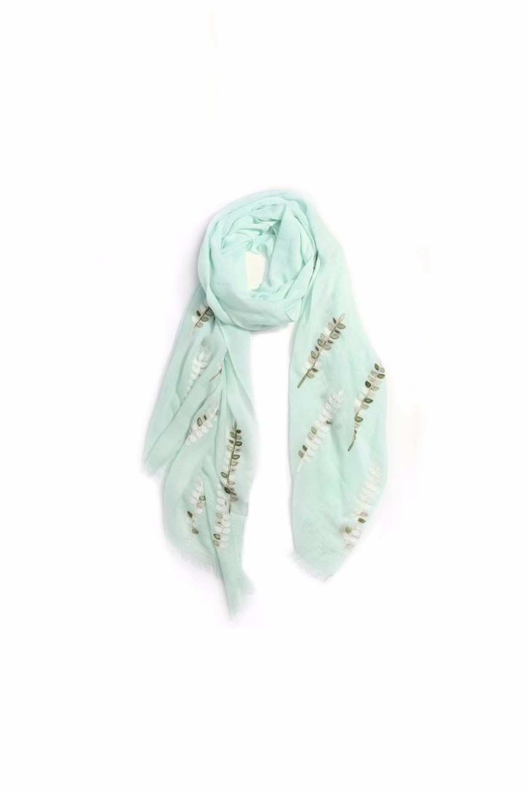 Love of Fashion Embroidered Leaf Scarf - Main Image