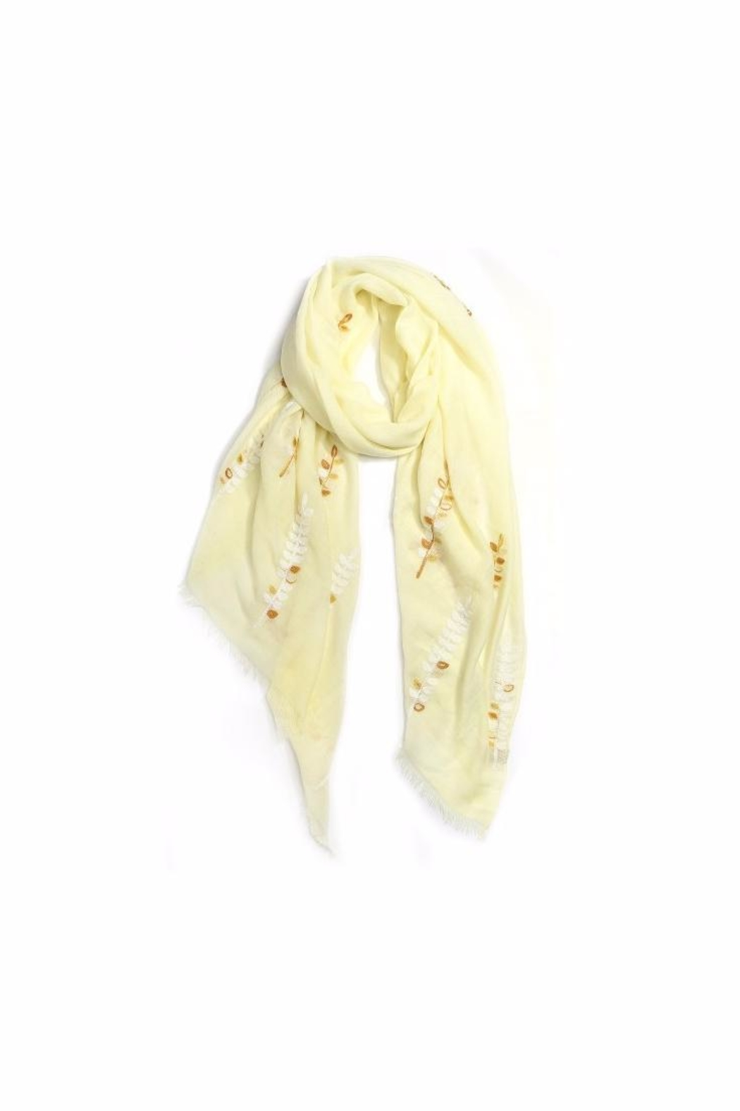 Love of Fashion Embroidered Leaf Scarf - Front Cropped Image