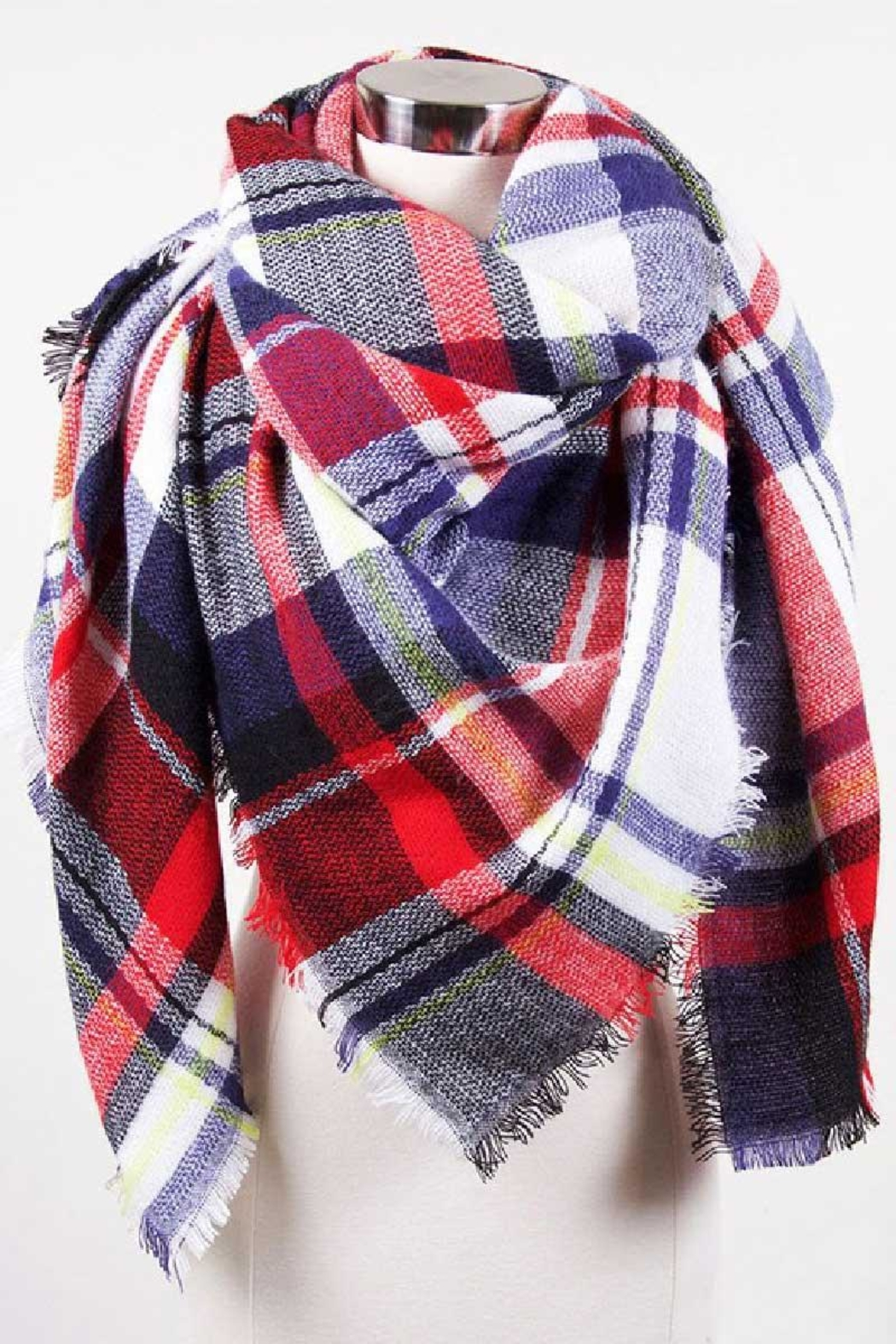 Love of Fashion Plaid Blanket Scarf - Front Cropped Image