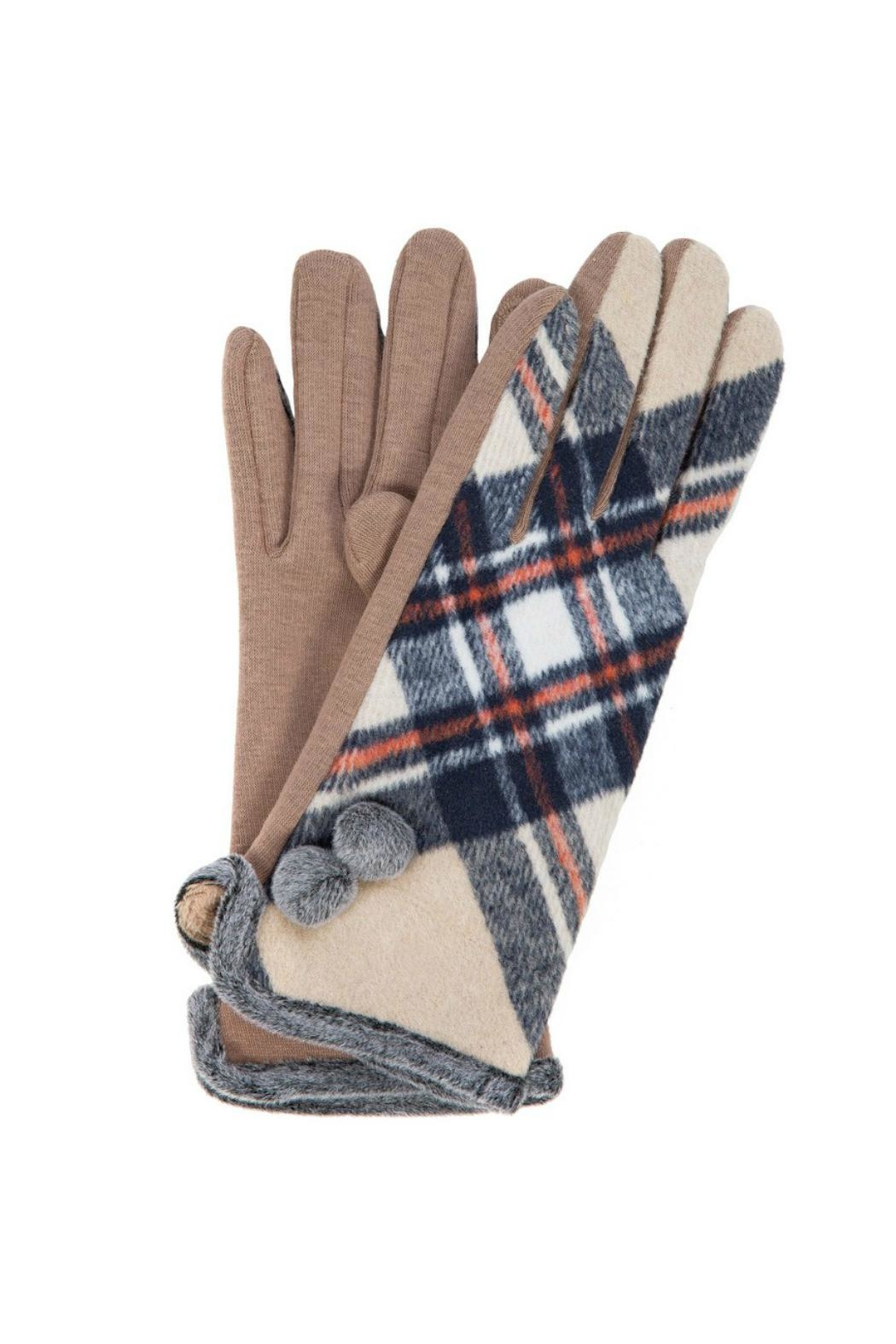 Love of Fashion Plaid Touchscreen Gloves - Front Cropped Image