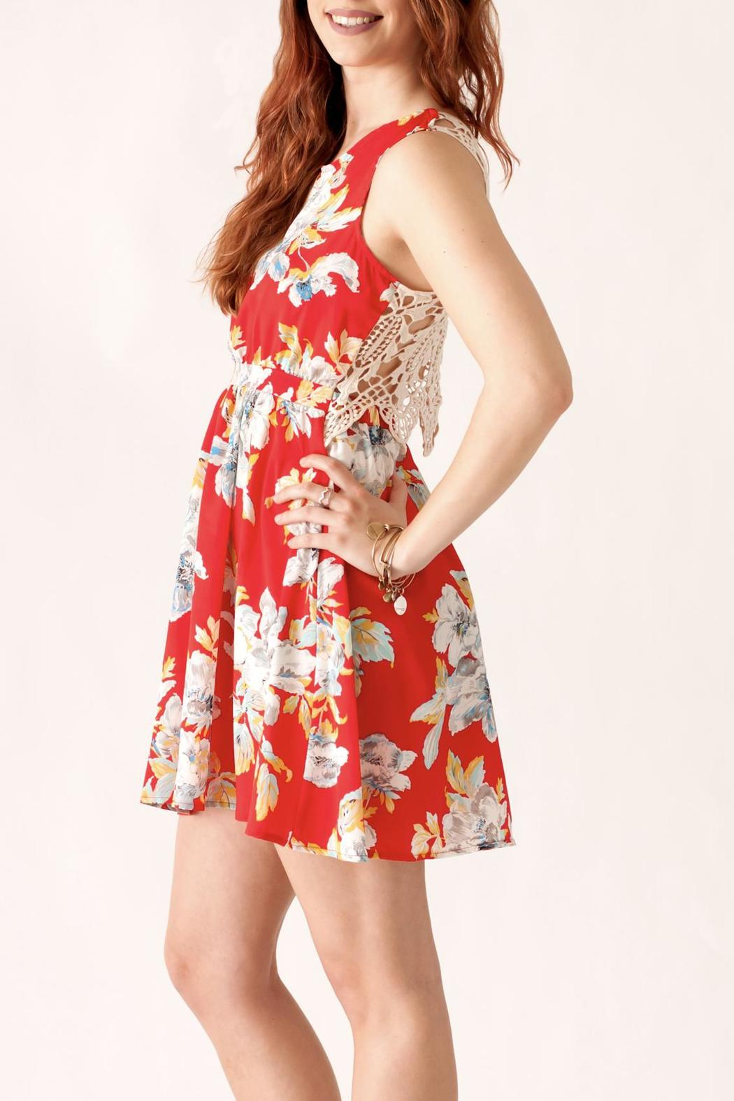 Love Point Floral Crochet Dress - Side Cropped Image