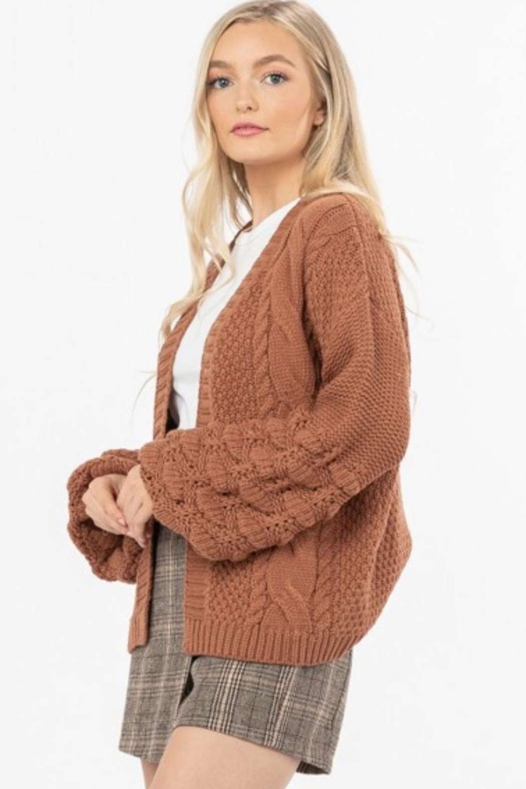 Love Richie Camel Sweater Cardigan - Front Full Image