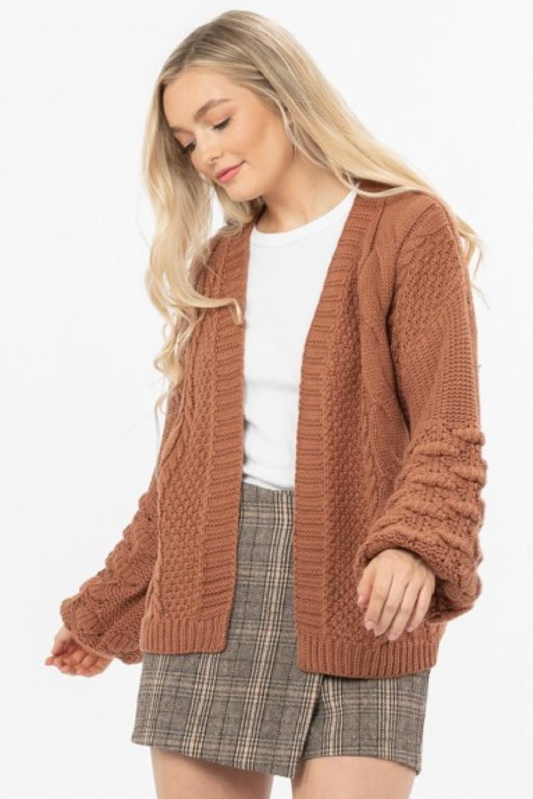 Love Richie Camel Sweater Cardigan - Front Cropped Image