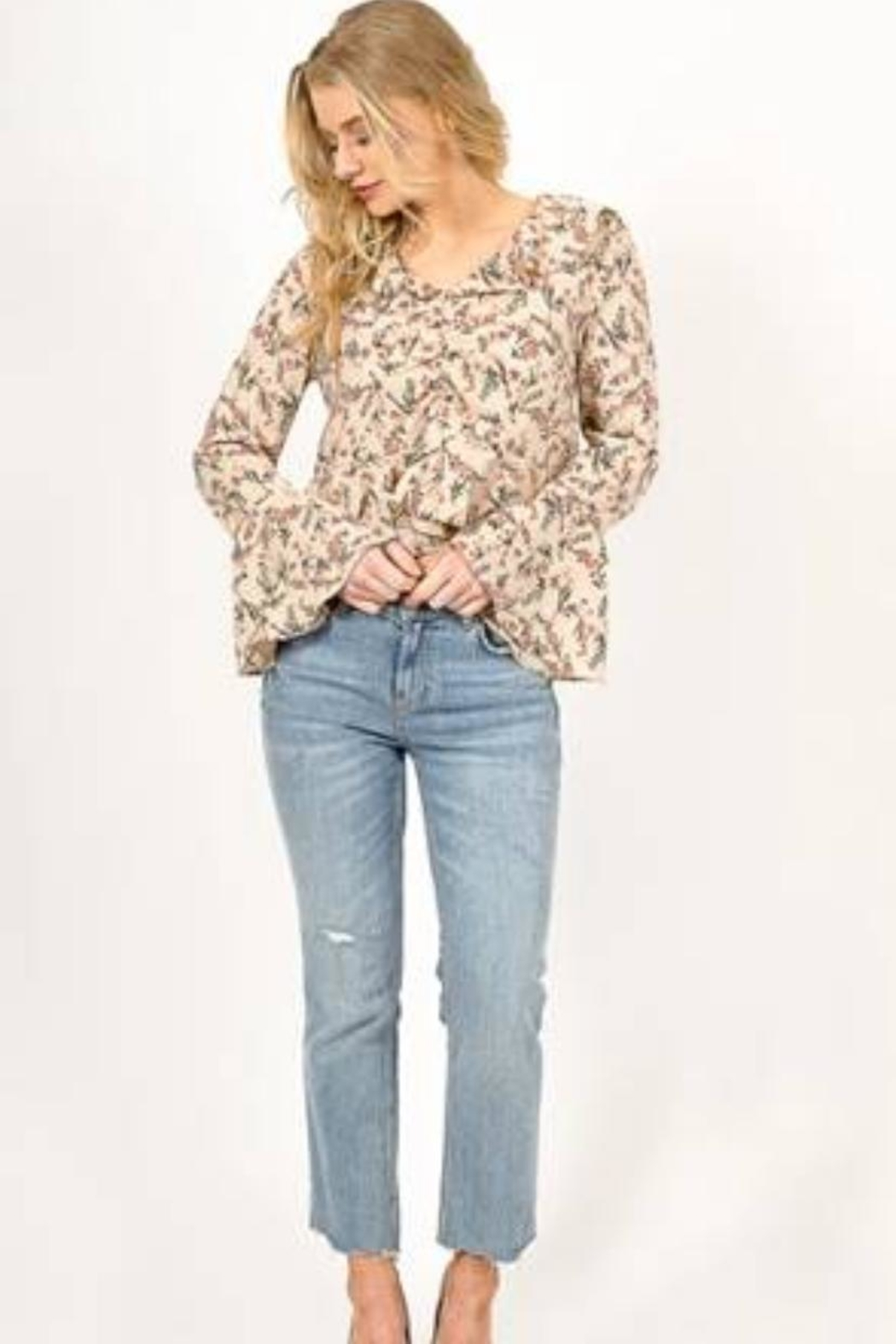 Love Richie Floral Bell-Sleeve Top - Front Full Image
