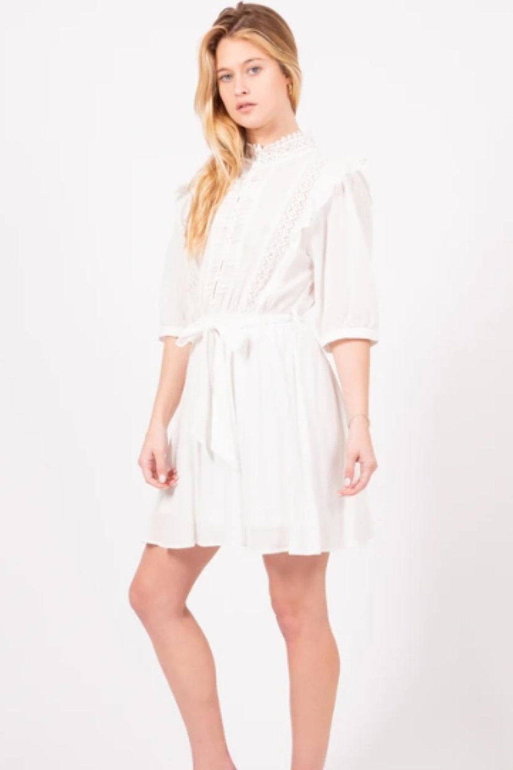 Love Richie White Cotton Dress - Side Cropped Image