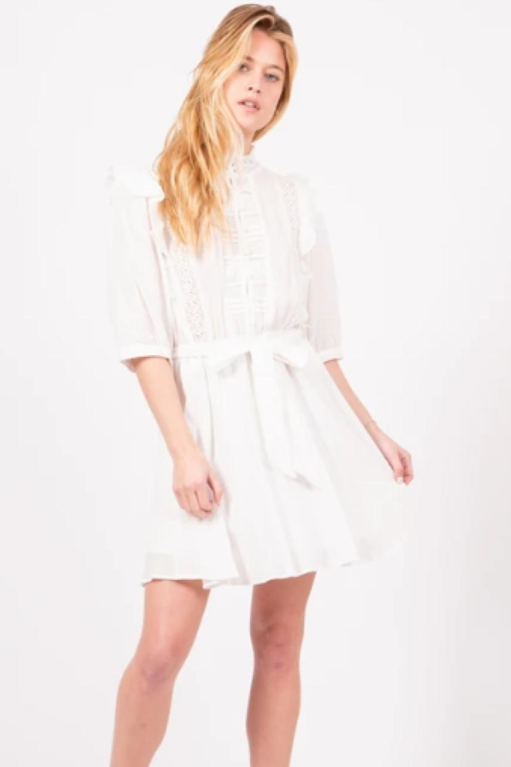 Love Richie White Cotton Dress - Front Full Image