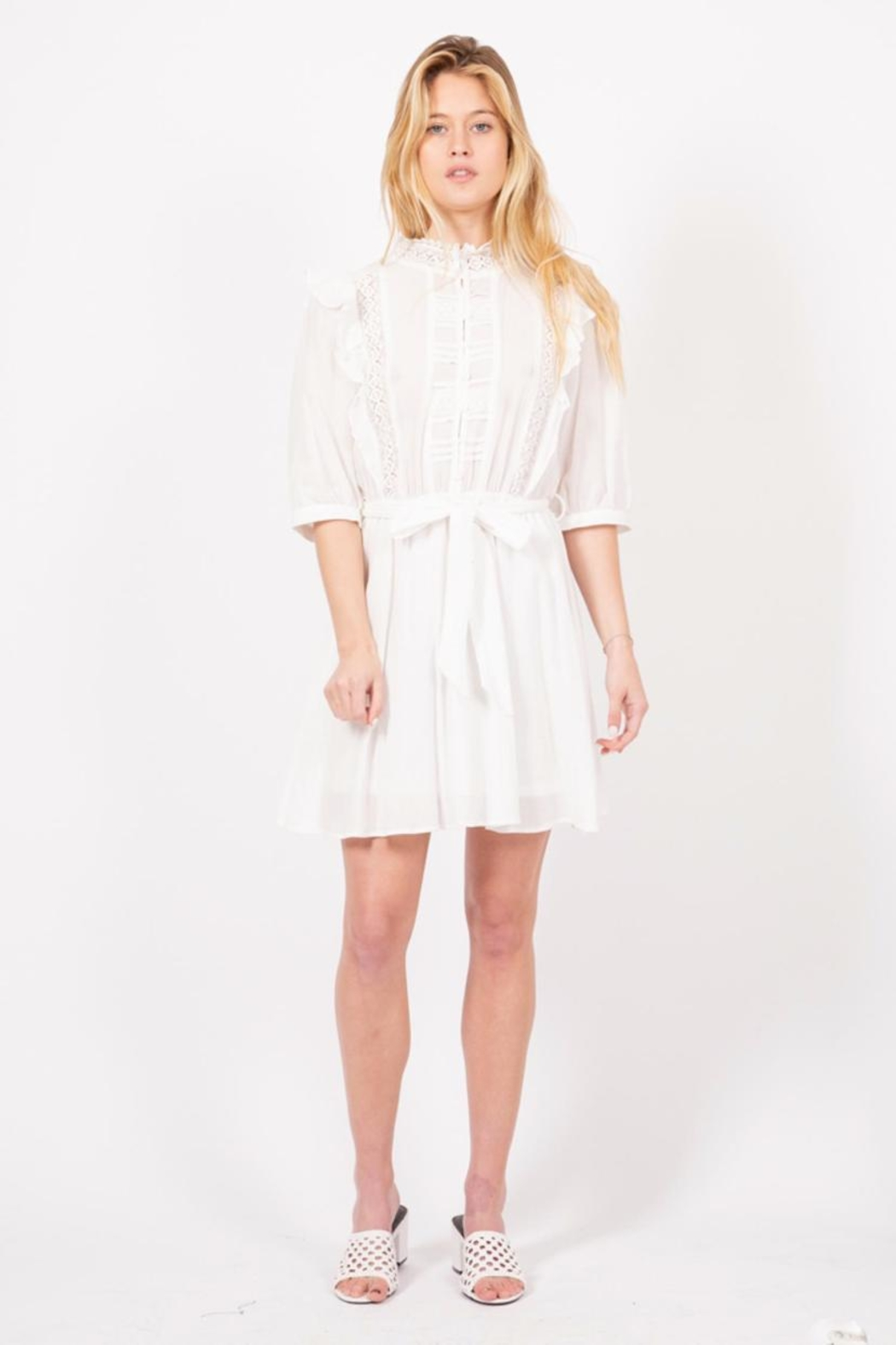 Love Richie White Cotton Dress - Front Cropped Image