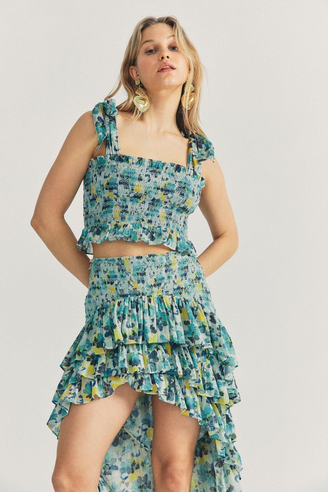 Love Shack Fancy Norleen Cropped Top - Front Full Image