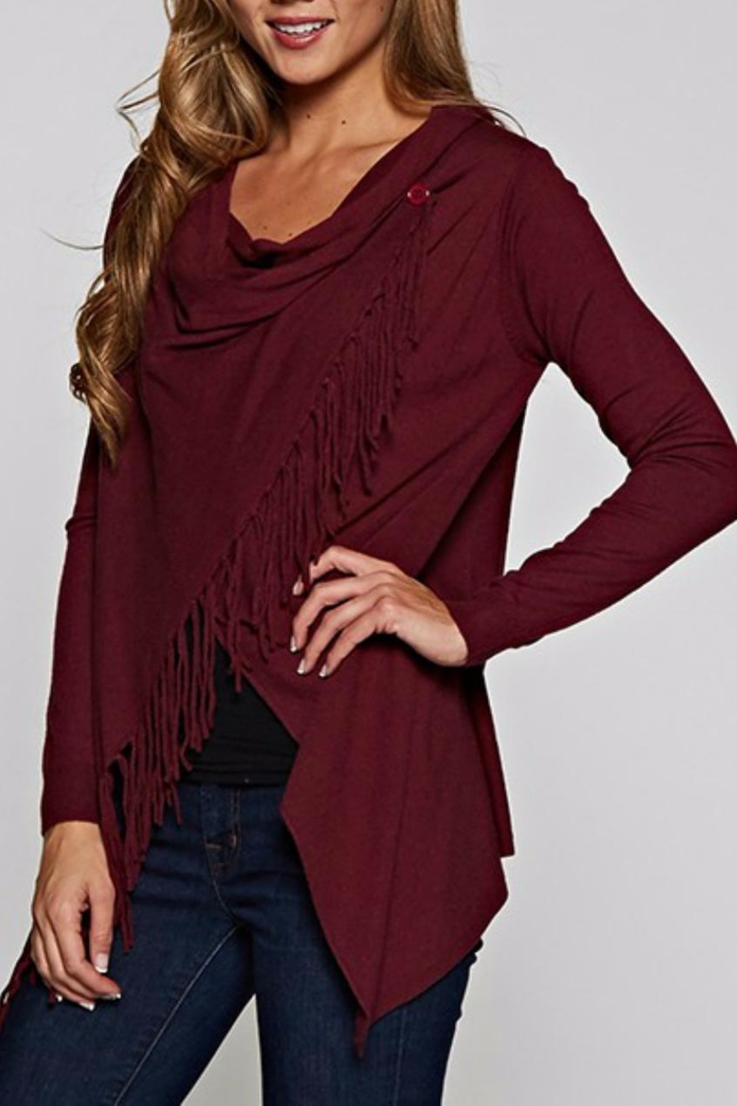 Love Stitch Asymetrical Fringe Cardigan - Front Full Image