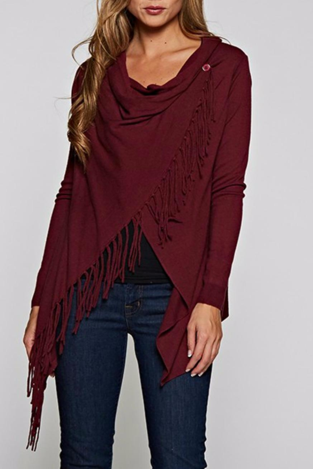 Love Stitch Asymetrical Fringe Cardigan - Side Cropped Image