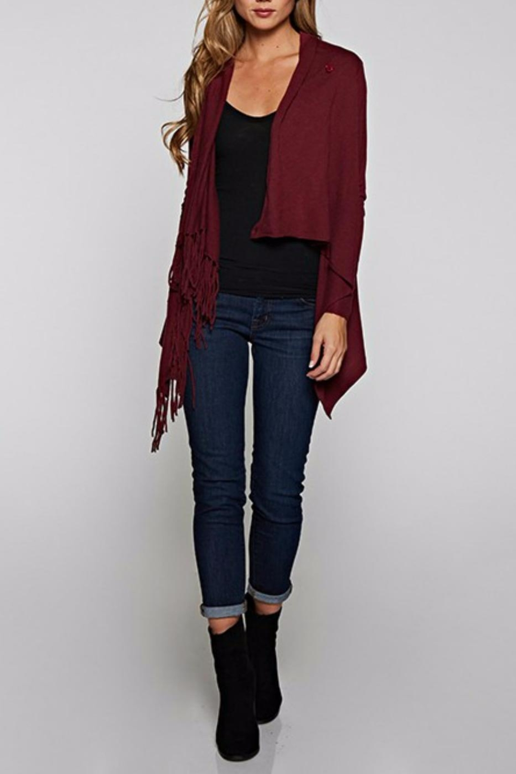 Love Stitch Asymetrical Fringe Cardigan - Front Cropped Image