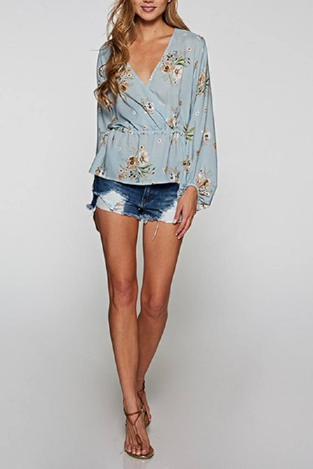 Love Stitch Blue Floral Top - Front Full Image