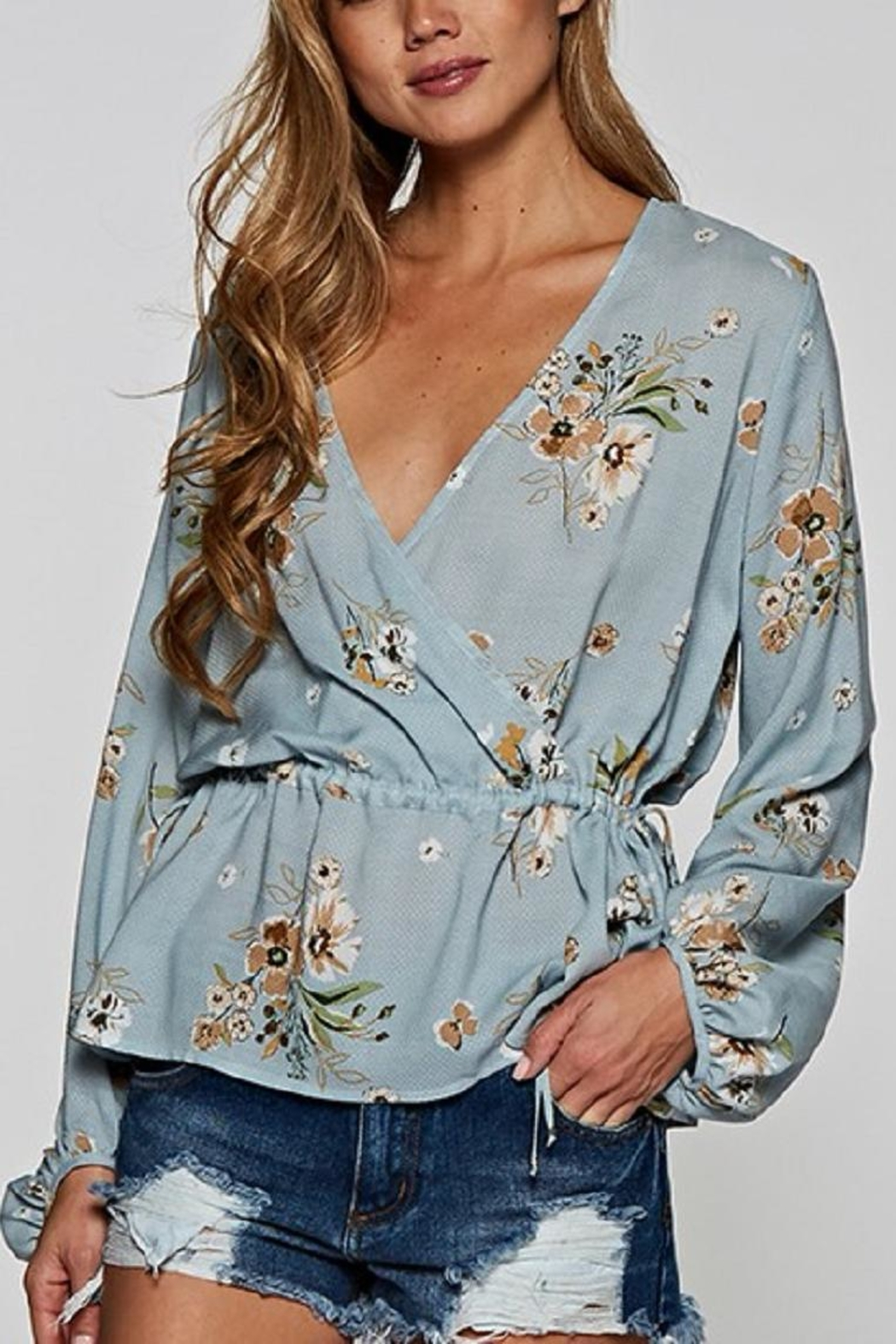 Love Stitch Blue Floral Top - Main Image