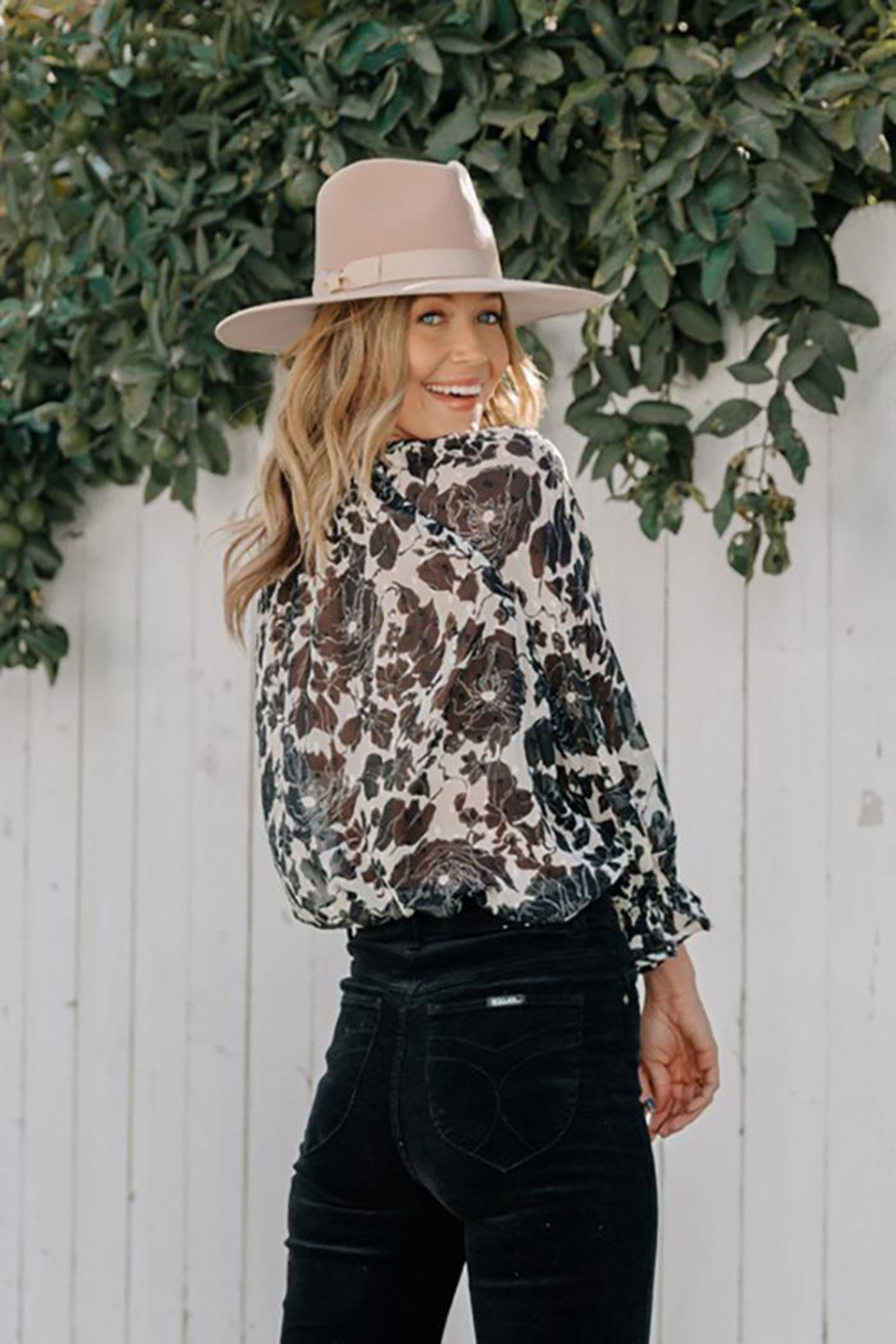 Love Stitch Boho Floral Ruffled Button Front Blouse - Side Cropped Image