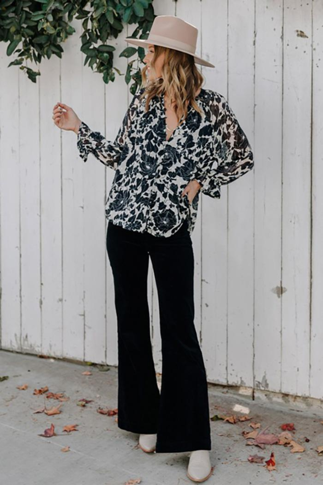 Love Stitch Boho Floral Ruffled Button Front Blouse - Front Full Image