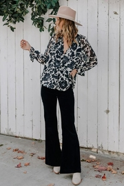 Love Stitch Boho Floral Ruffled Button Front Blouse - Front full body
