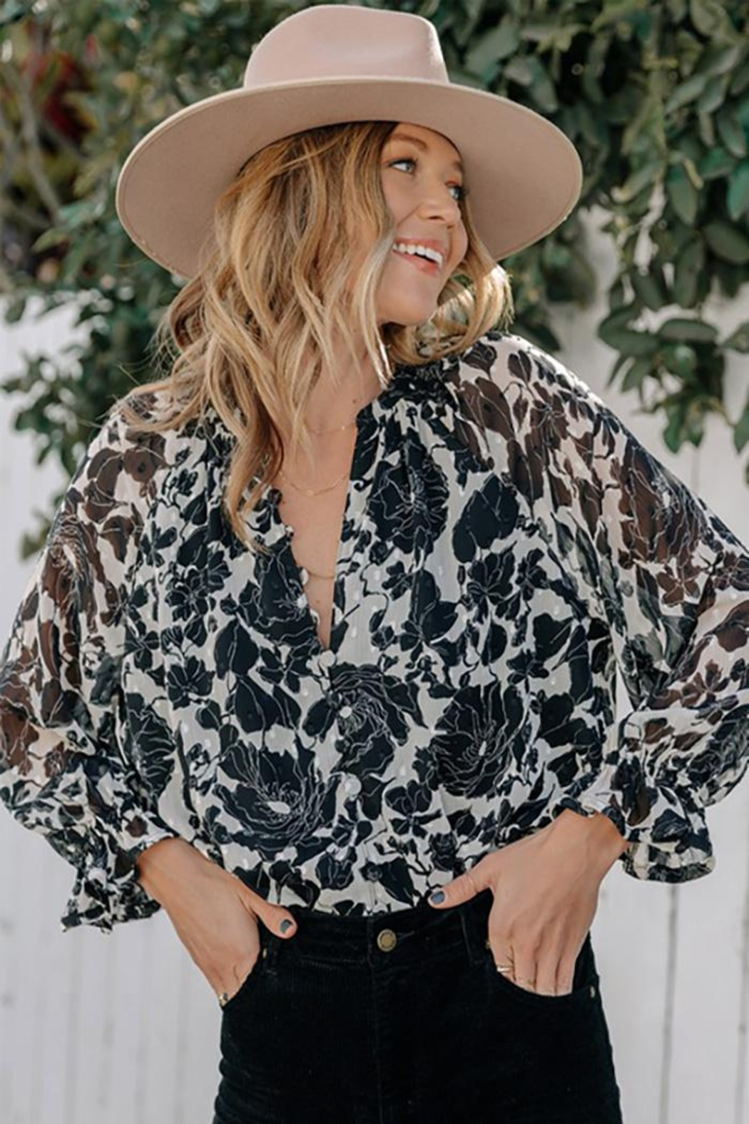 Love Stitch Boho Floral Ruffled Button Front Blouse - Main Image