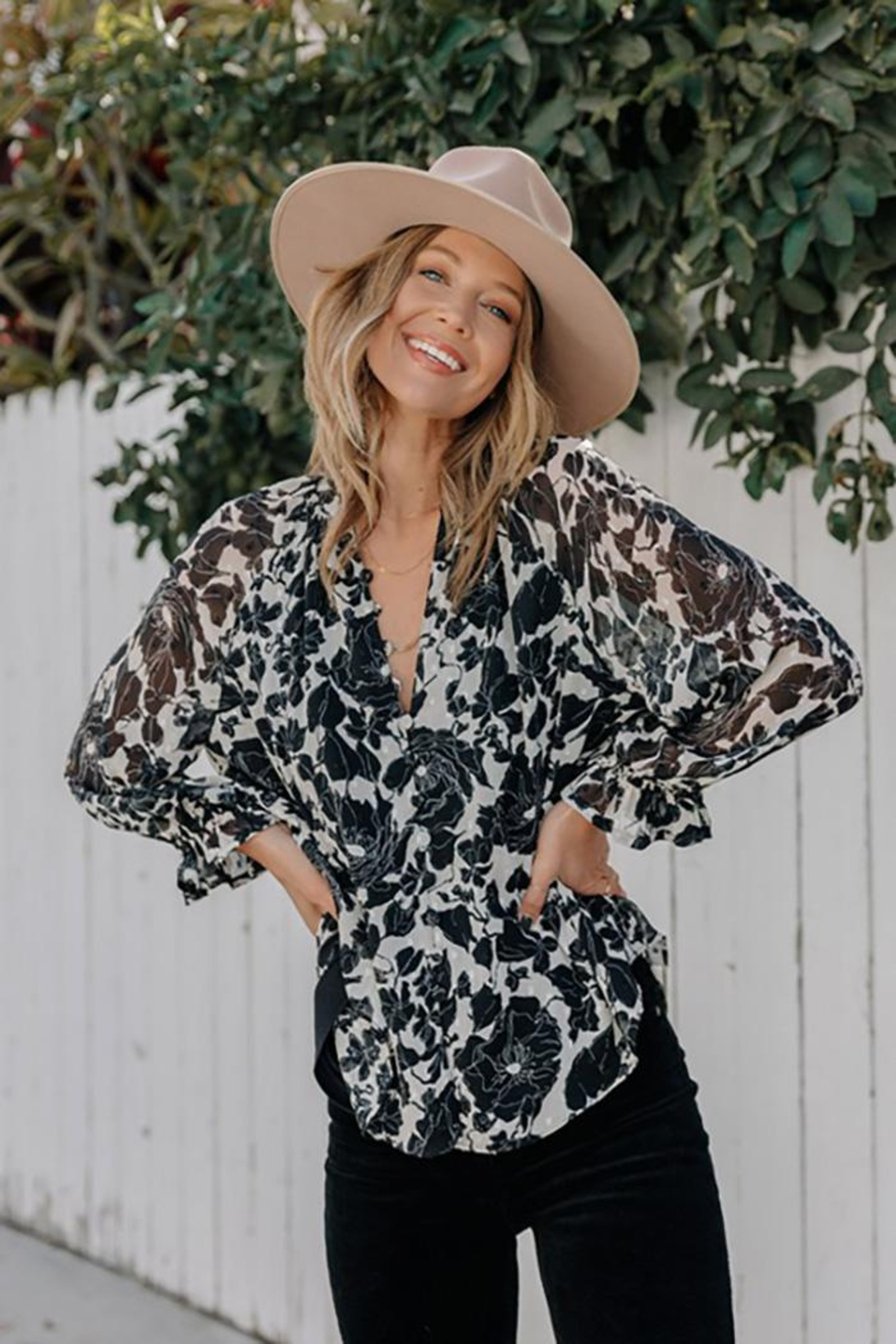 Love Stitch Boho Floral Ruffled Button Front Blouse - Back Cropped Image
