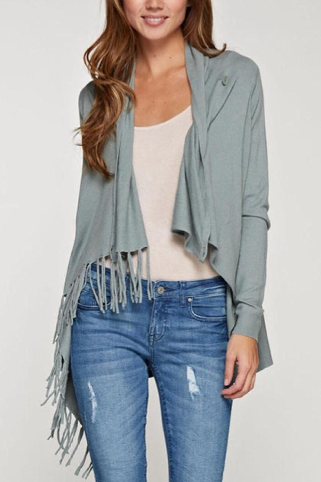 Lovestitch Fringed Wrap Cardigan - Front Cropped Image