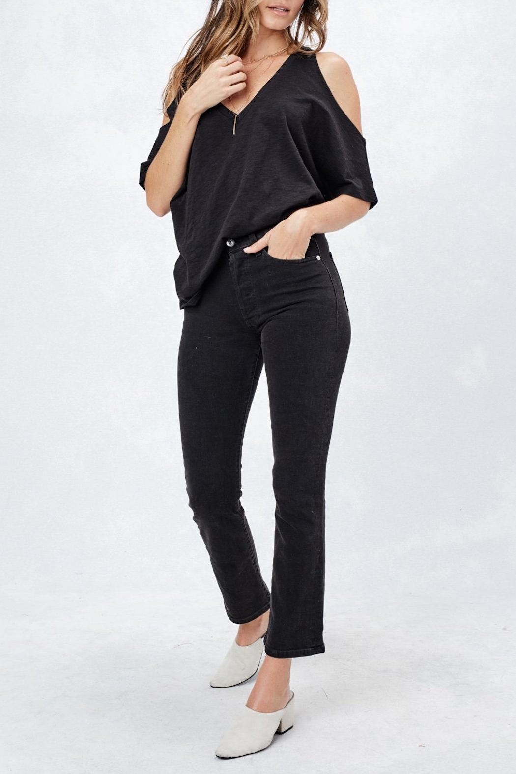 Love Stitch Cold Shoulder Tee - Front Full Image