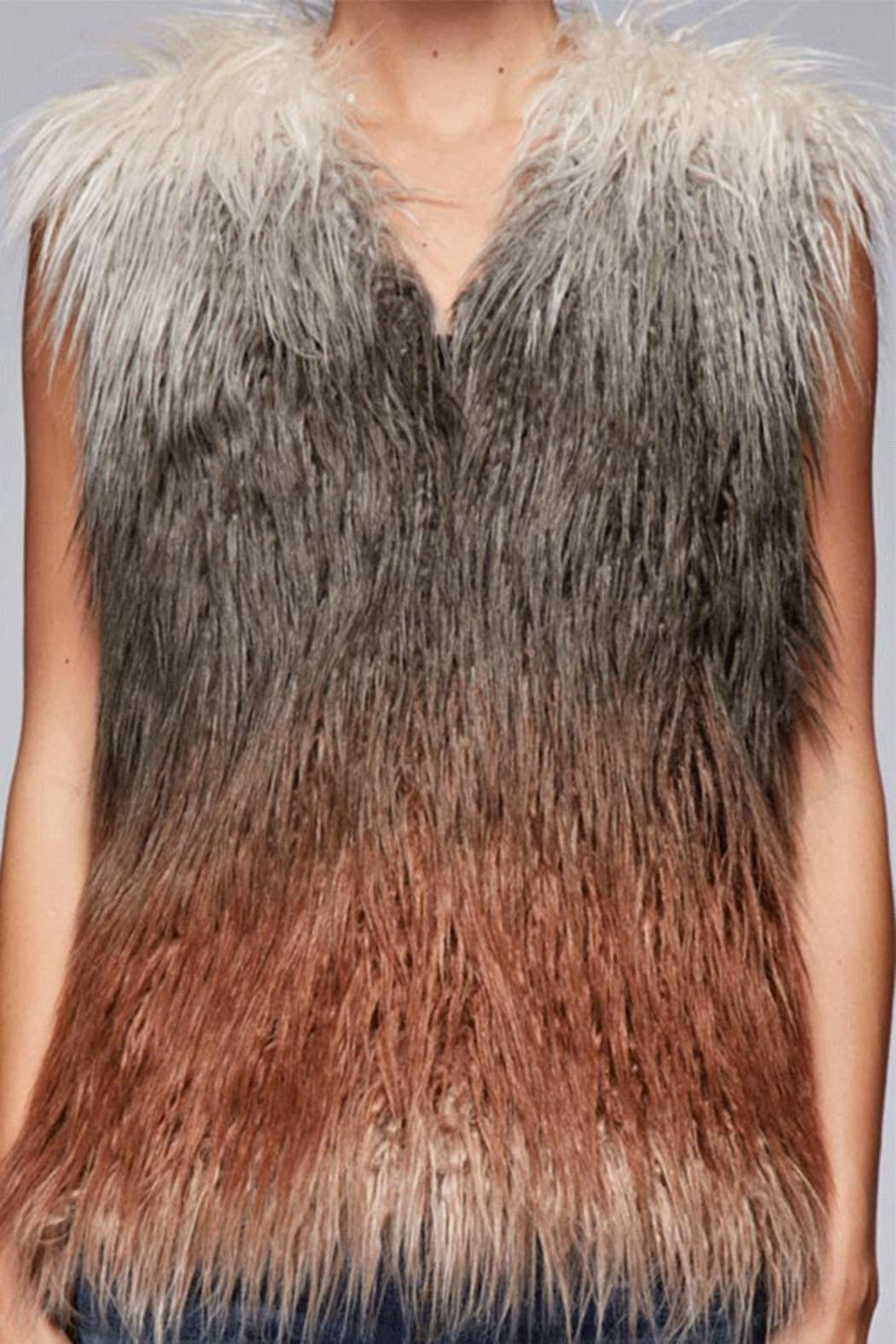 Lovestitch Faux Fur Ombre Vest - Side Cropped Image