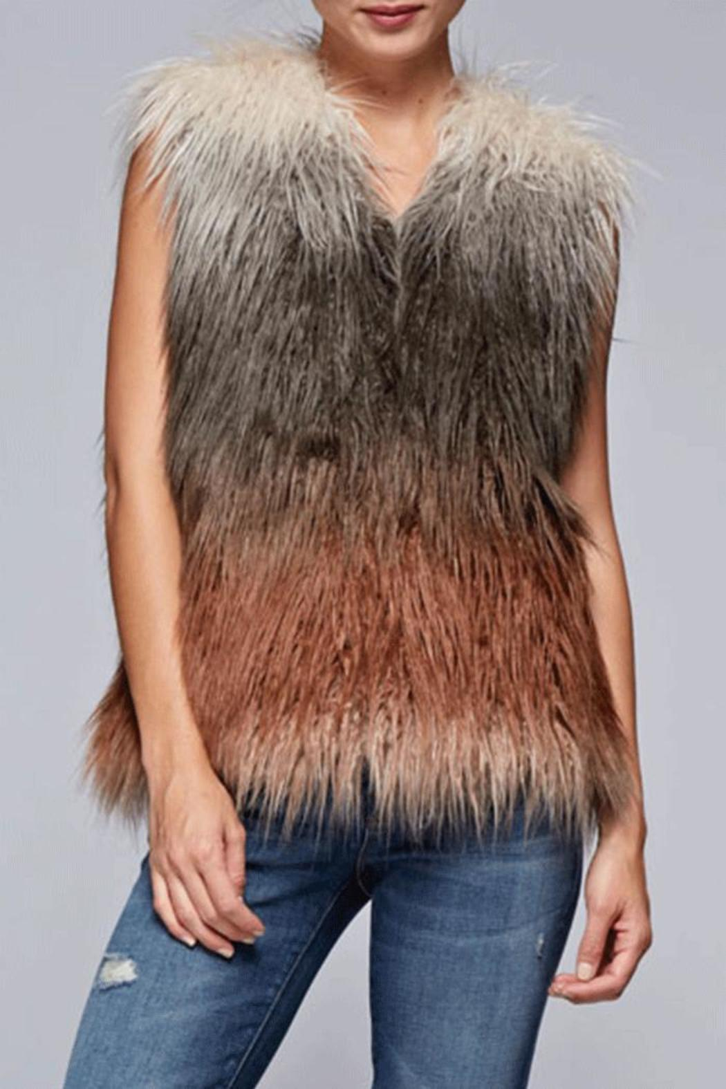 Lovestitch Faux Fur Ombre Vest - Main Image