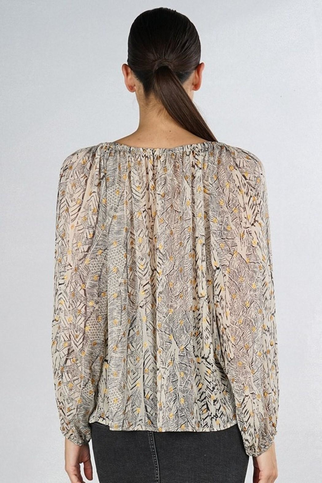 Love Stitch Feather Peasant Blouse - Side Cropped Image