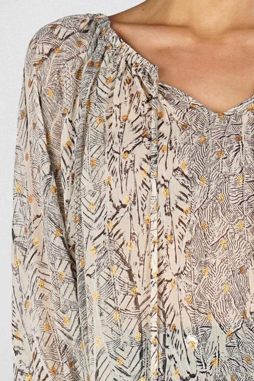 Love Stitch Feather Peasant Blouse - Back Cropped Image