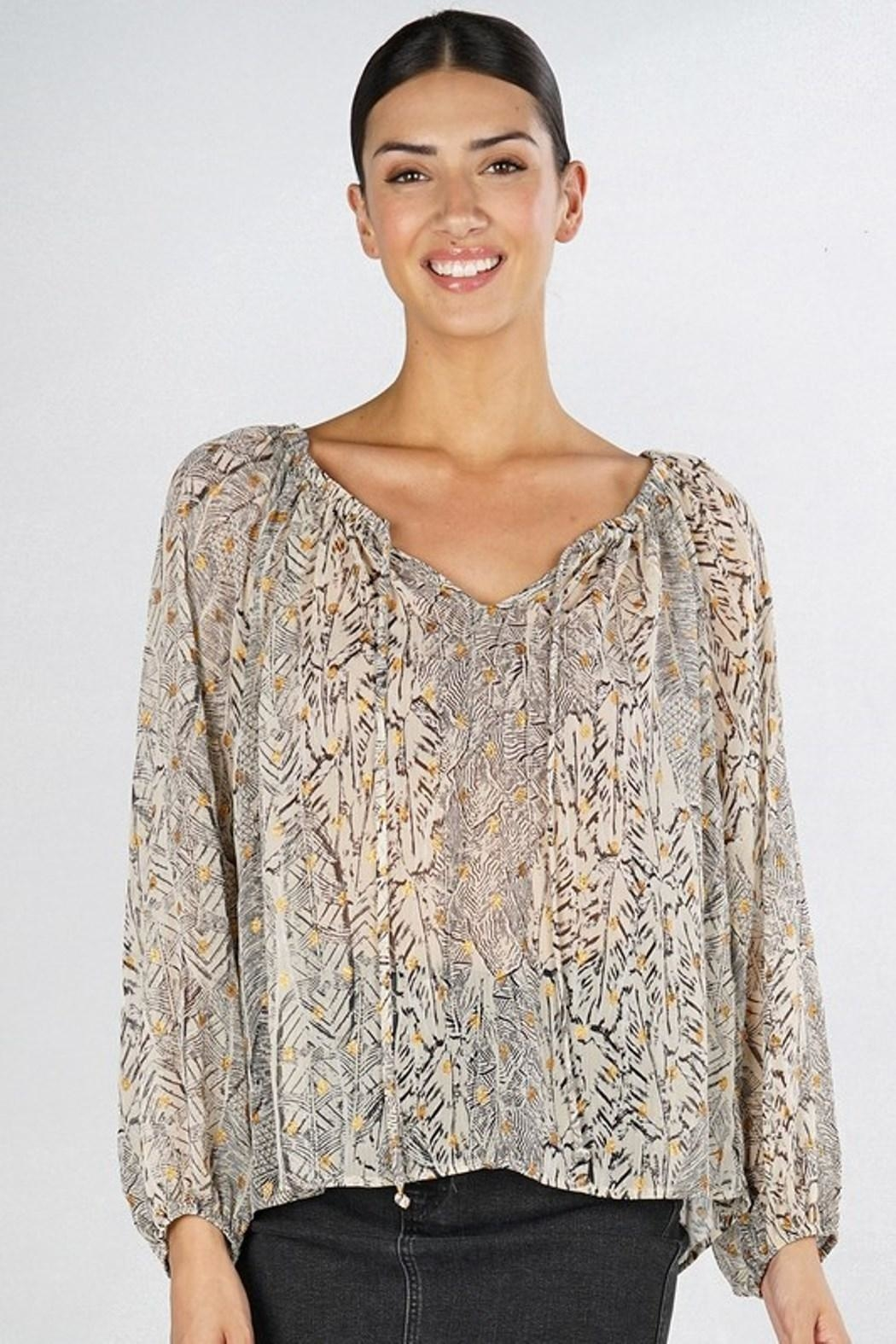 Love Stitch Feather Peasant Blouse - Main Image
