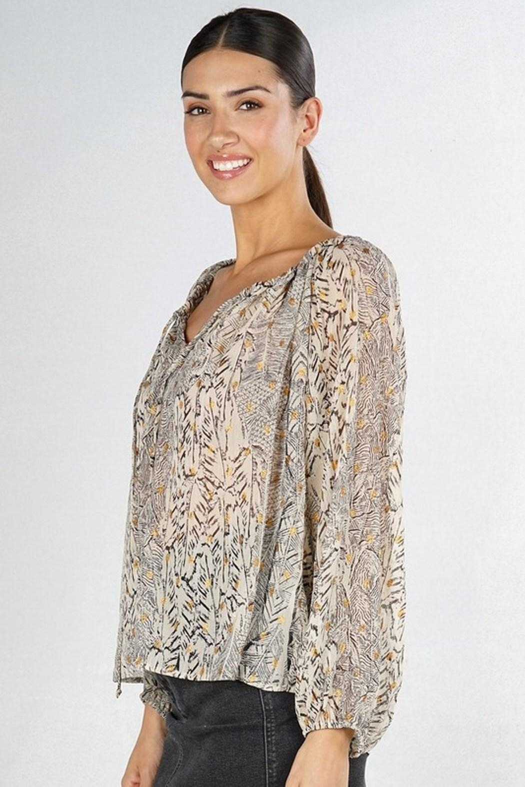 Love Stitch Feather Peasant Blouse - Front Full Image