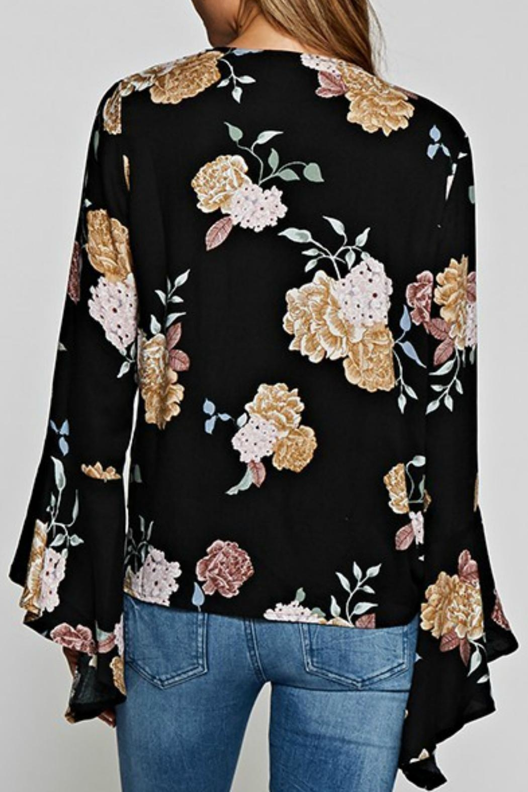 Love Stitch Floral Surplice Top - Front Full Image