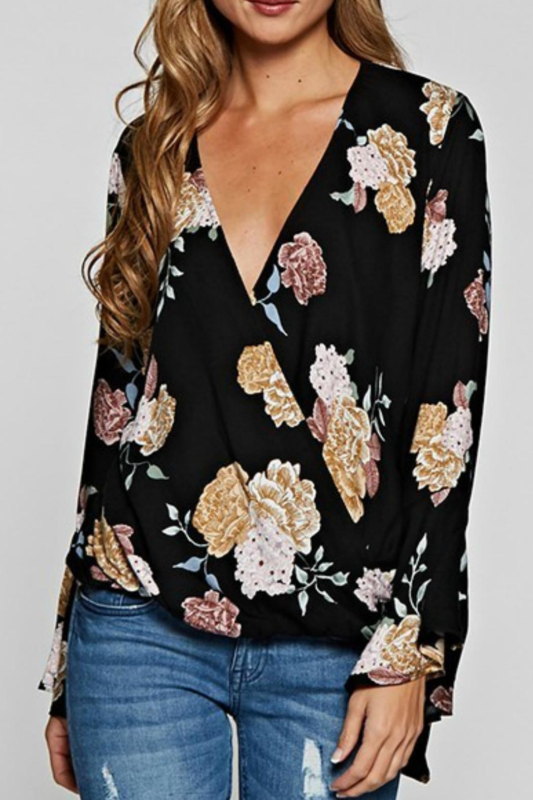 Love Stitch Floral Surplice Top - Main Image
