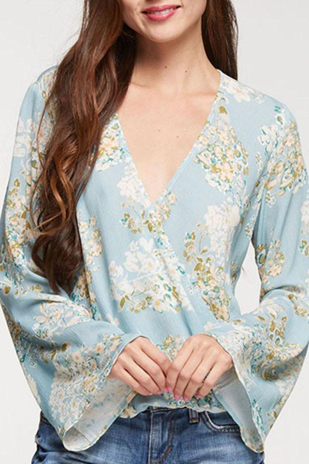 Lovestitch Floral Surplice Top - Front Full Image