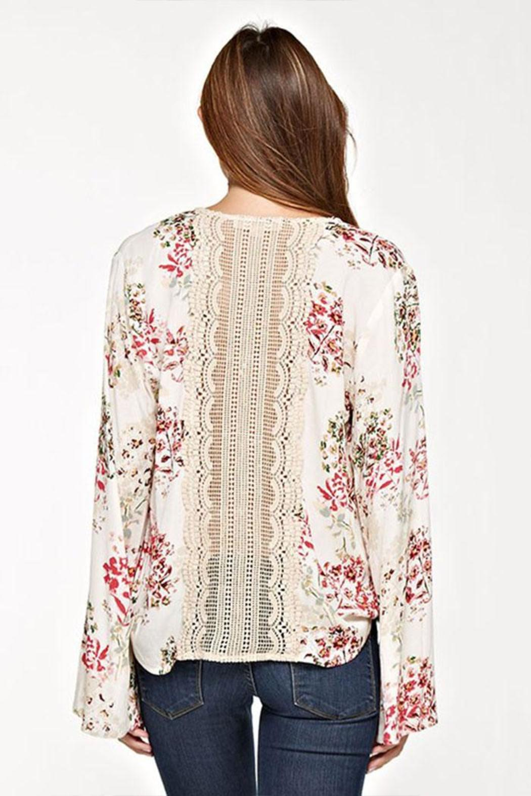 Lovestitch Floral Surplice Top - Side Cropped Image
