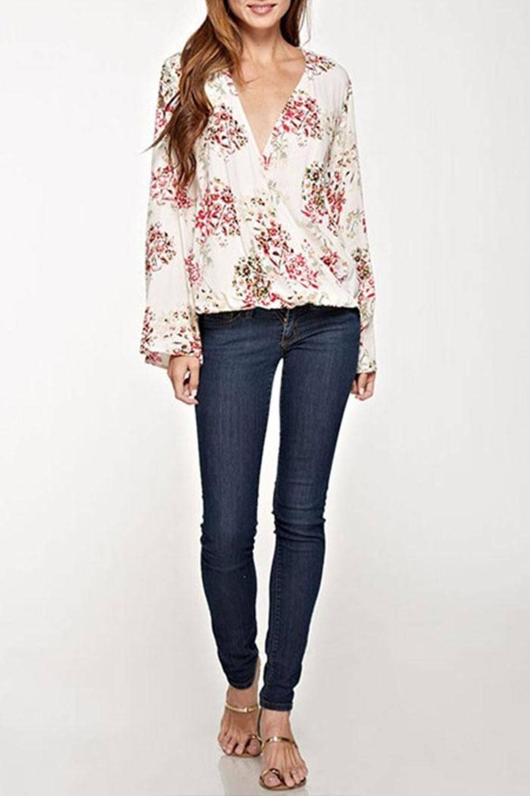 Lovestitch Floral Surplice Top - Front Cropped Image