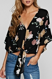 Love Stitch Floral Tie Front Top - Product Mini Image