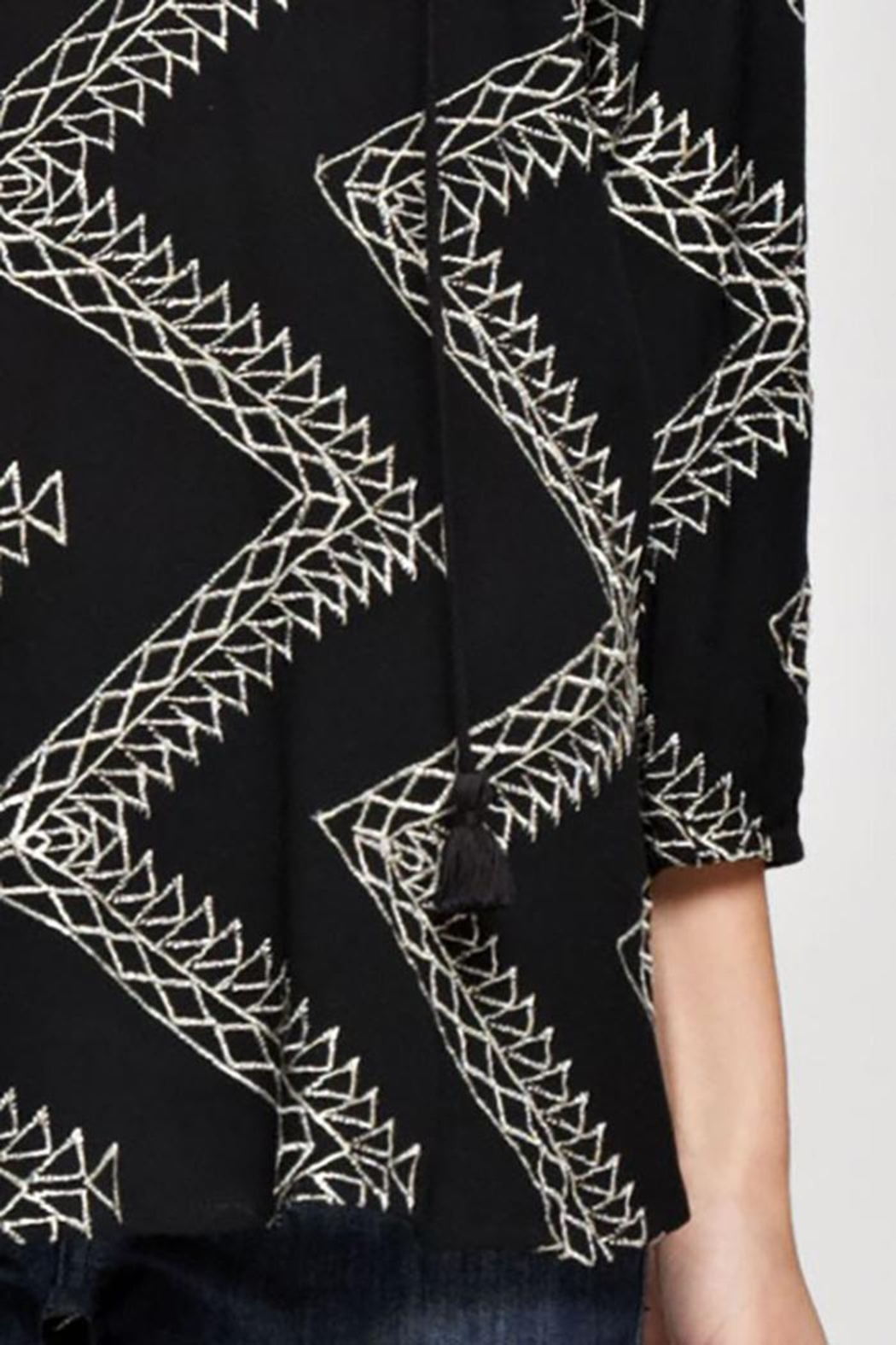 Love Stitch Geometric Zig Zag Embroidered Blouse - Back Cropped Image