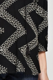 Love Stitch Geometric Zig Zag Embroidered Blouse - Back cropped