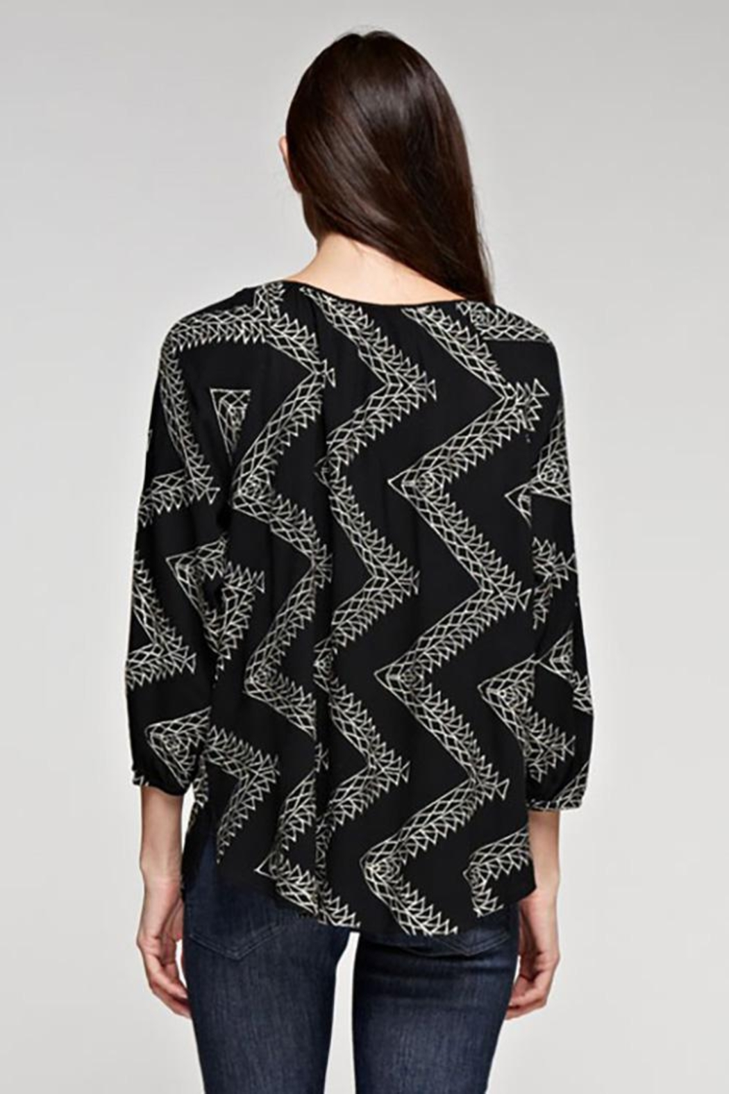 Love Stitch Geometric Zig Zag Embroidered Blouse - Front Full Image