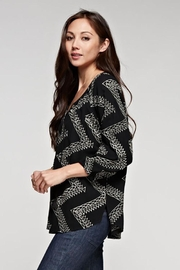 Love Stitch Geometric Zig Zag Embroidered Blouse - Side cropped