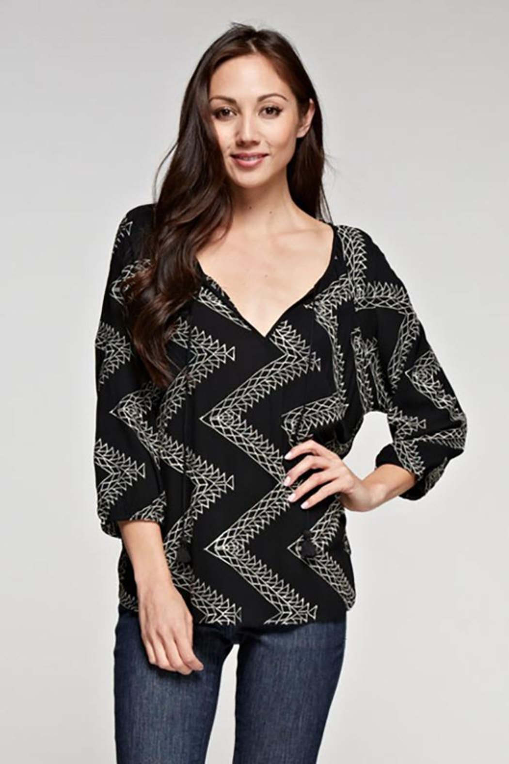 Love Stitch Geometric Zig Zag Embroidered Blouse - Main Image