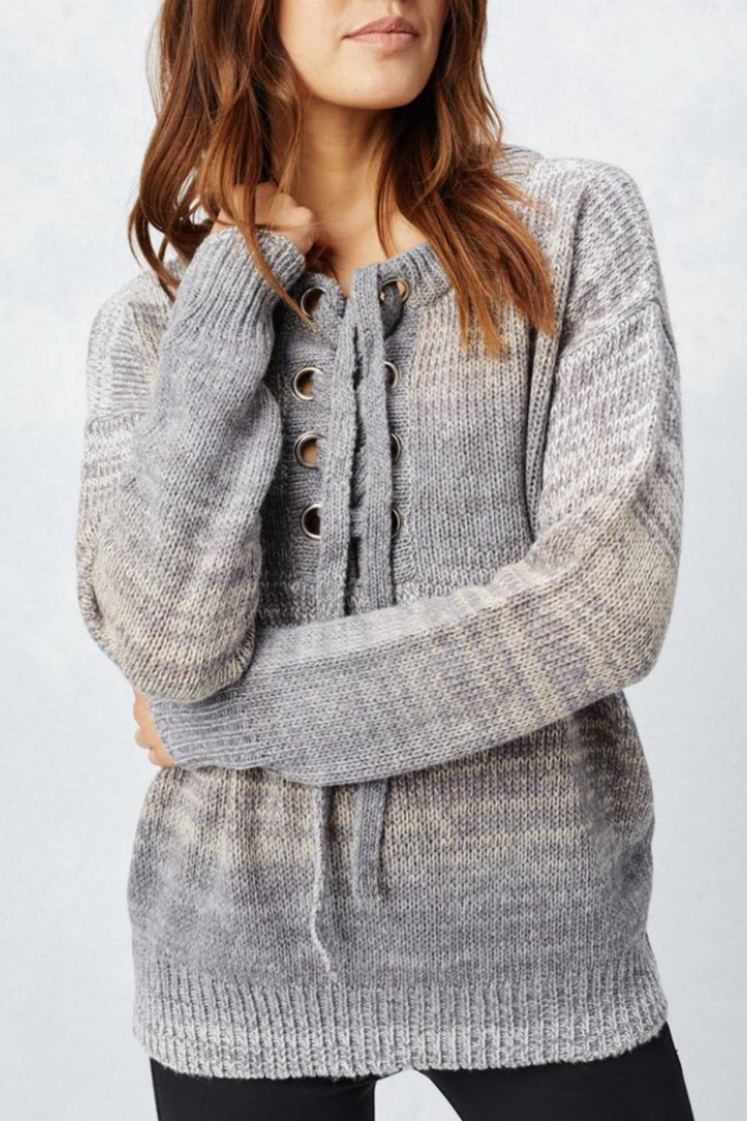 Love Stitch Lace-Up Sweater - Front Full Image