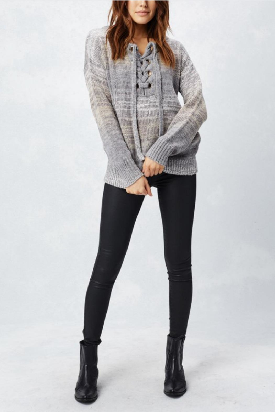 Love Stitch Lace-Up Sweater - Front Cropped Image