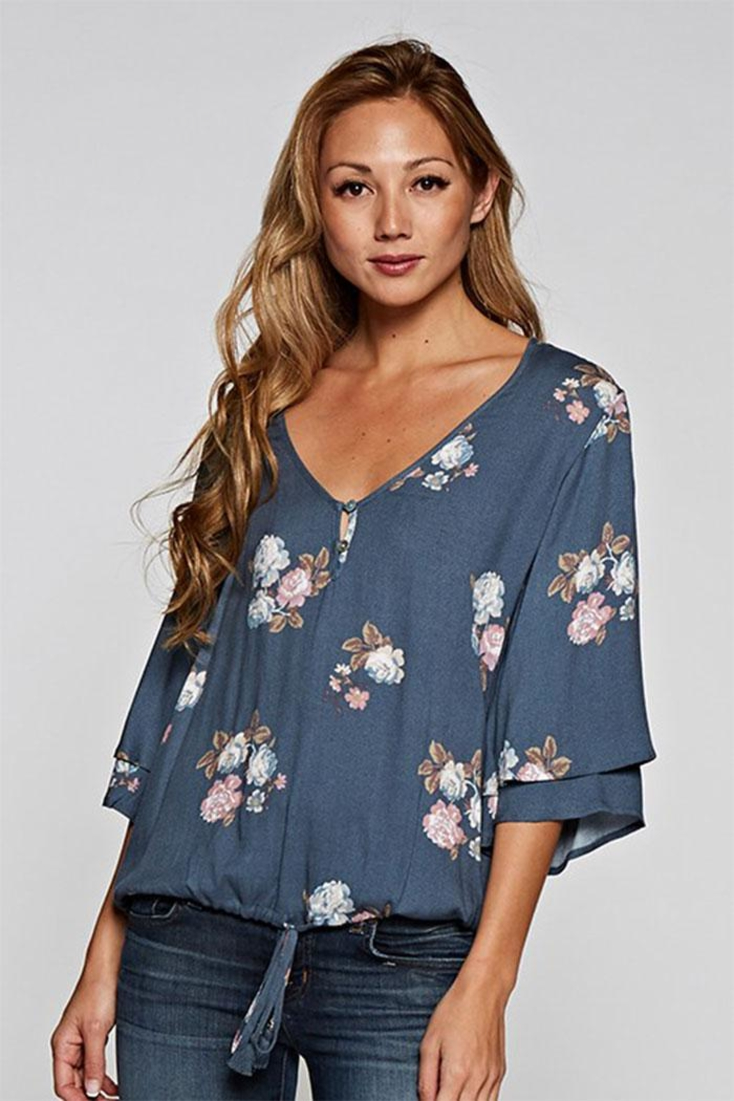 Love Stitch Layered Sleeve Top - Front Cropped Image
