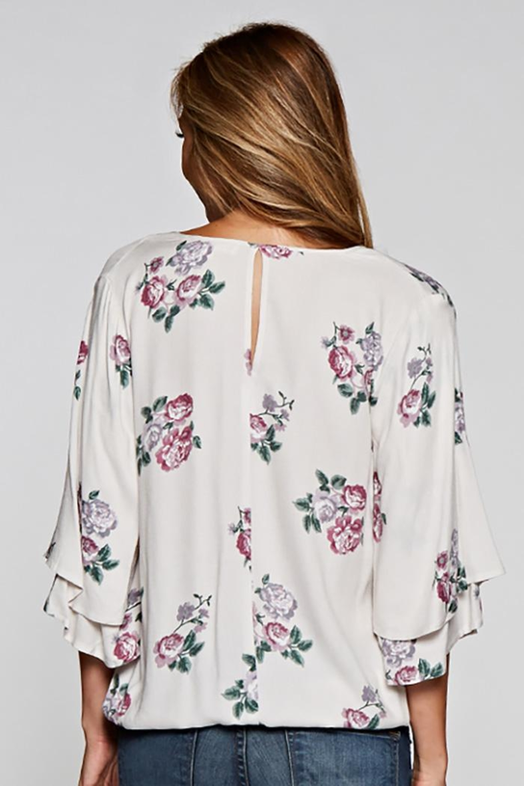Love Stitch Layered Sleeve Top - Back Cropped Image
