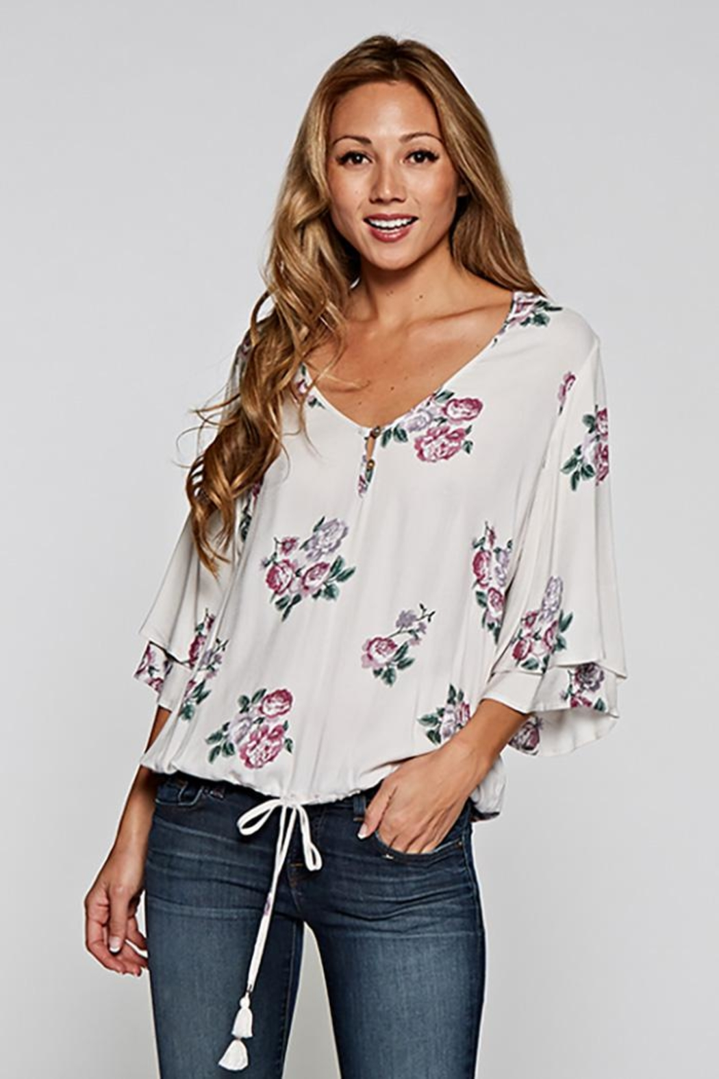 Love Stitch Layered Sleeve Top - Main Image