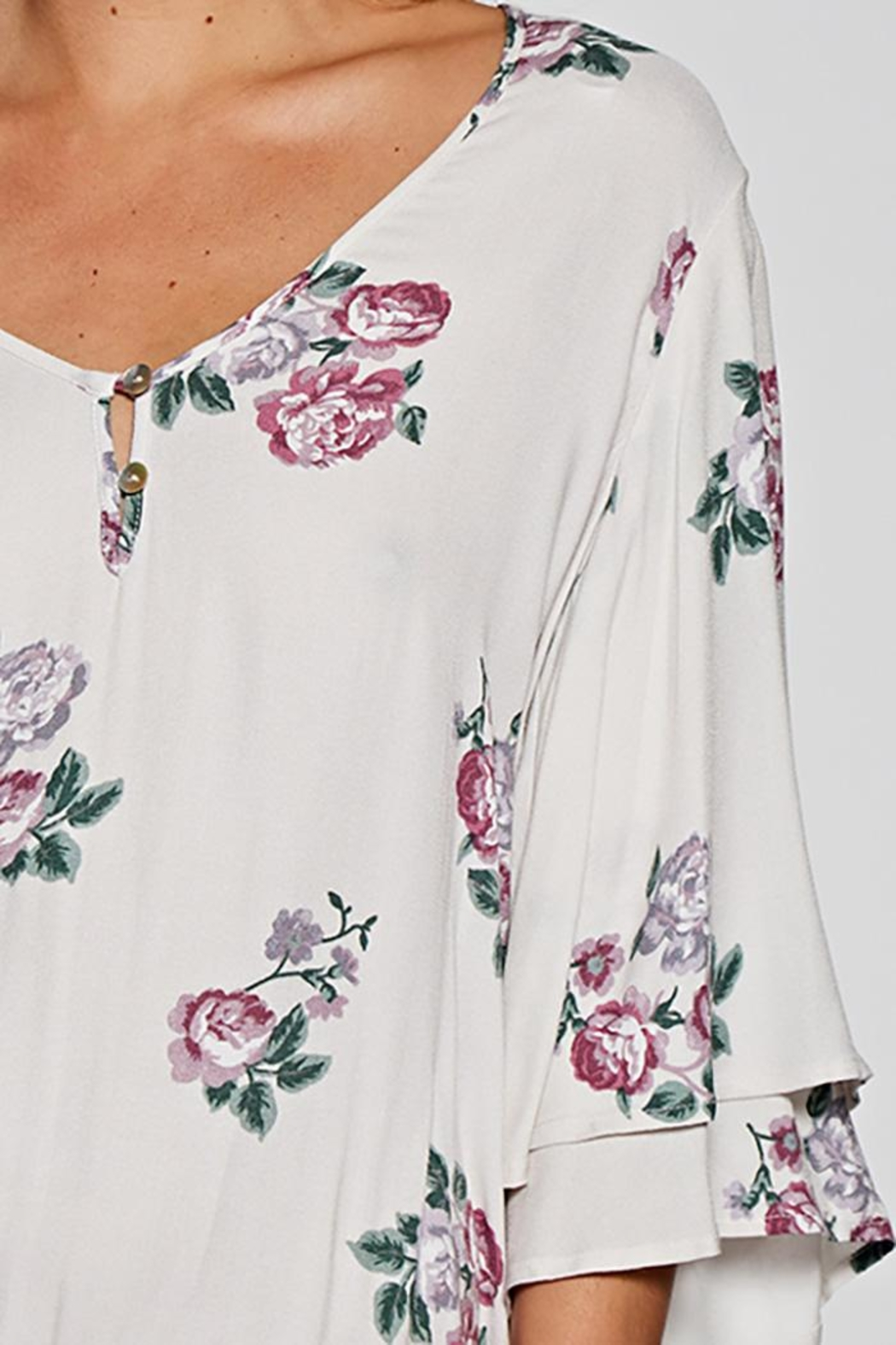 Love Stitch Layered Sleeve Top - Front Full Image