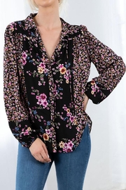 Love Stitch Mixed Challis Long Sleeve Button Front Top - Other